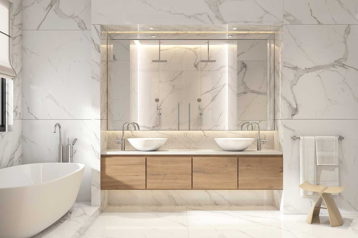 high-end natural materials Throughout your bathroom