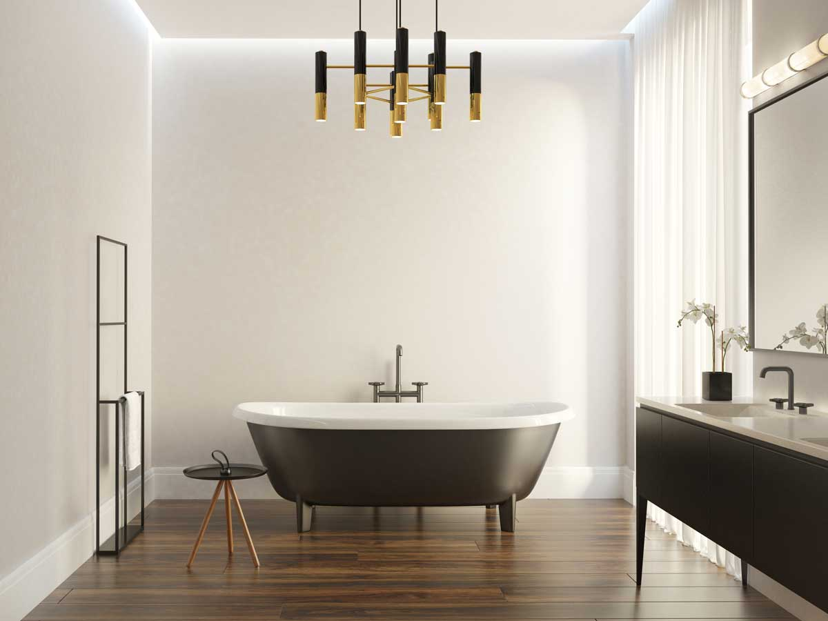 white bathroom surfaces create light and open space
